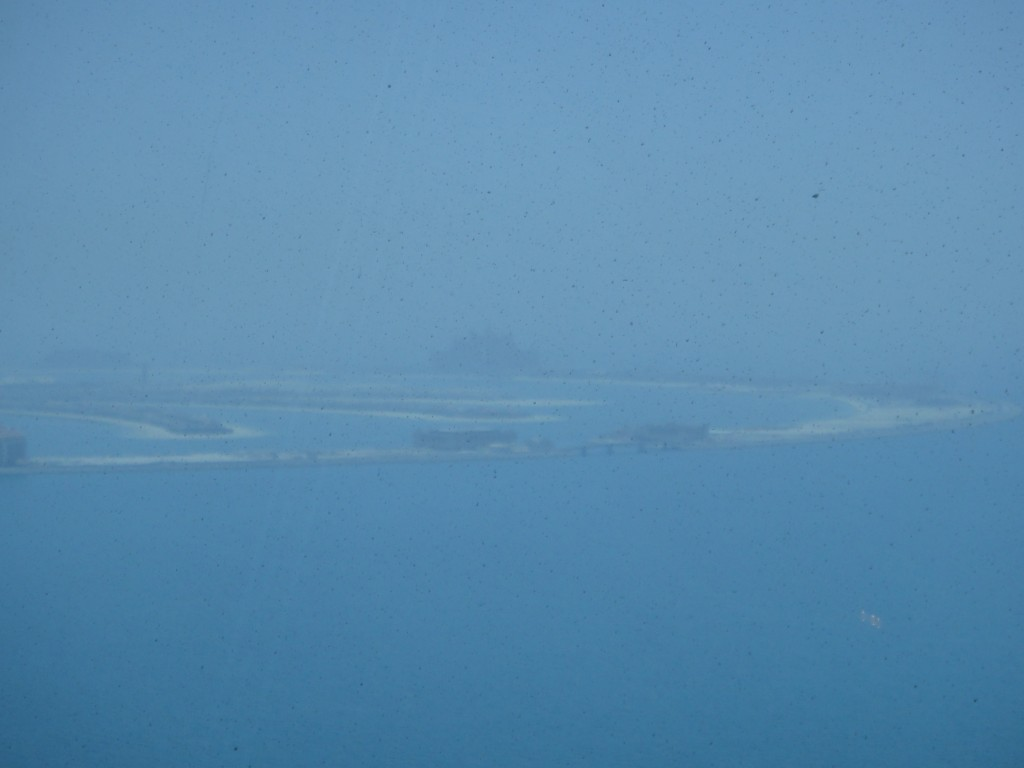 A close up of the Palm Jumeirah island.