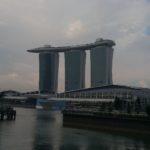 Walking towards the Marina Bay Sands in Singapore.