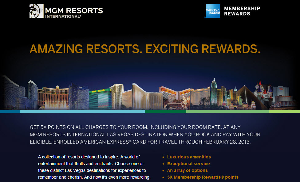Get 5x points at MGM Resorts in Las Vegas!