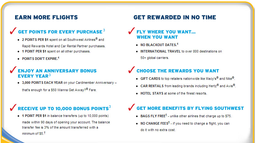 The benefits of the Chase Southwest Rapid Rewards Visa. Not that great, but a pretty good bonus.