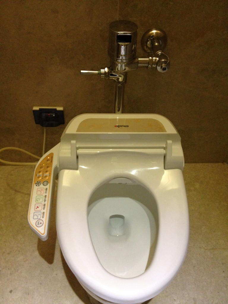 Not the most advanced toilet in the world, but it definitely has a few more buttons than mine at home!