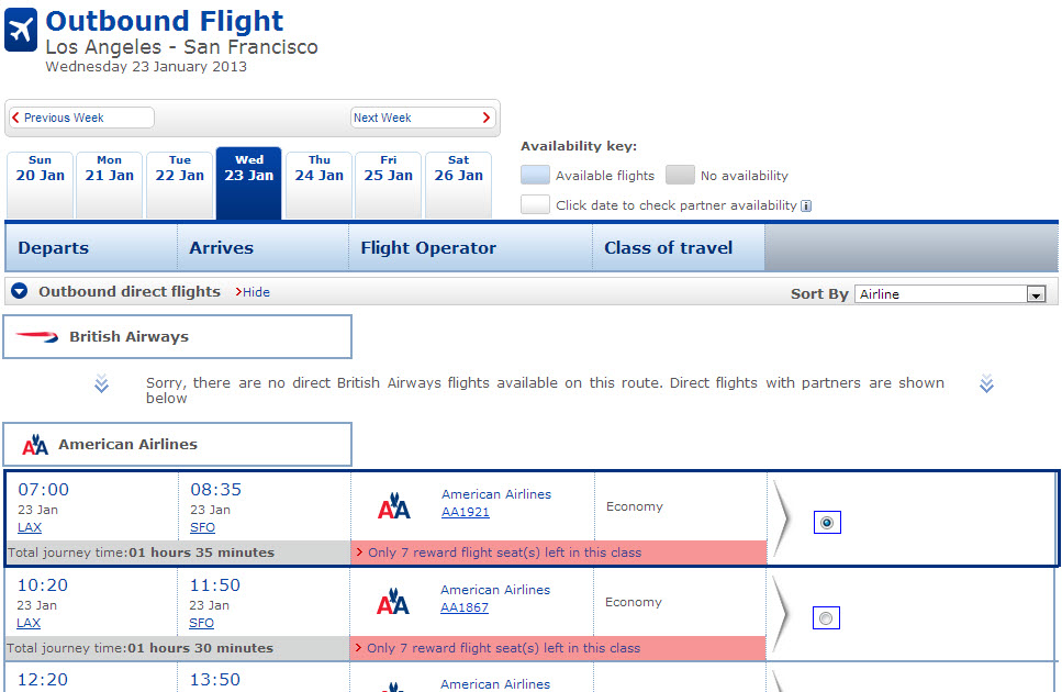 "The search results page will display all the available options and will automatically include partners. You can select other dates using the tabs at the top. After you find your flight, click ""Continue"" and you're almost done."