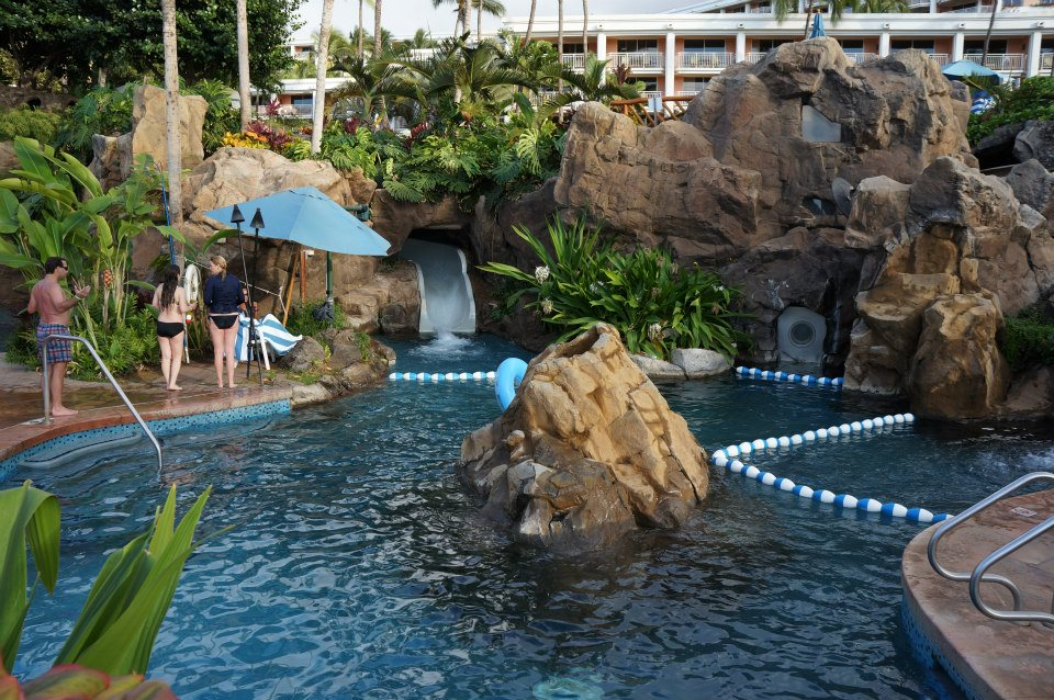 Multiple water slides, and in the center of the picture is the world's only water elevator.