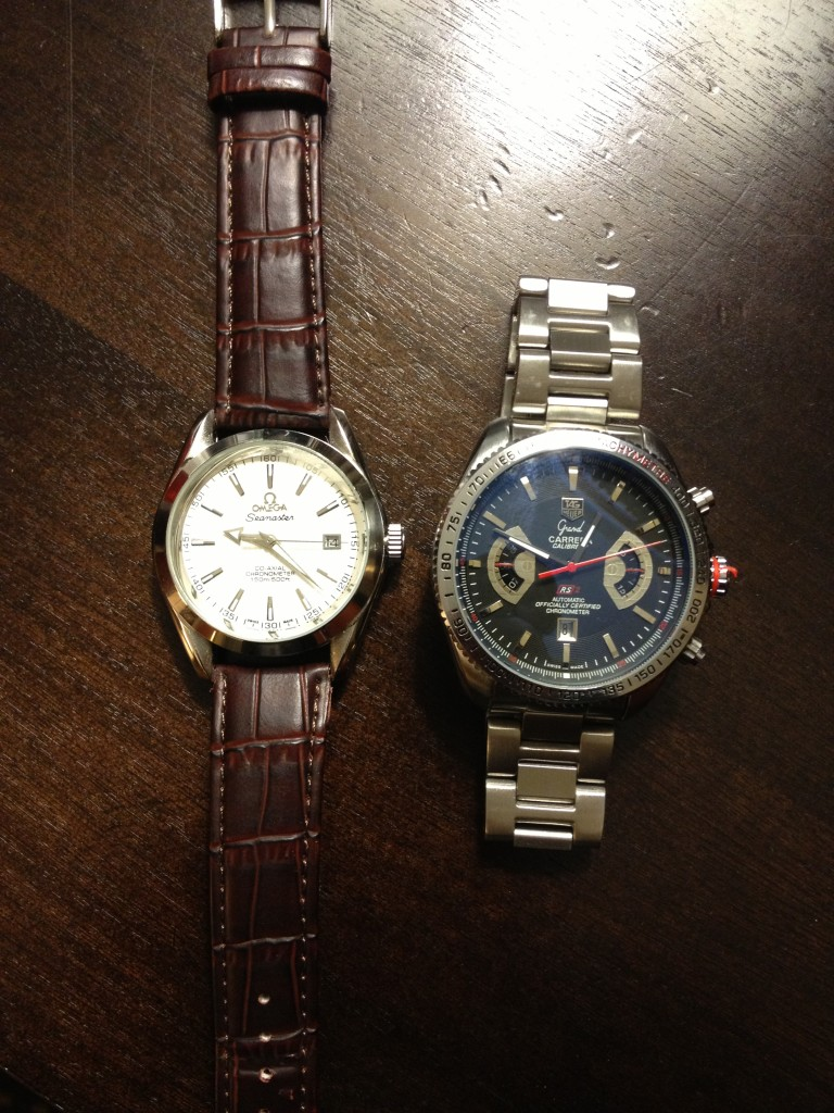 My haul: An Omega Seamaster and a Tag Heuer Grand Carrera. Nice!