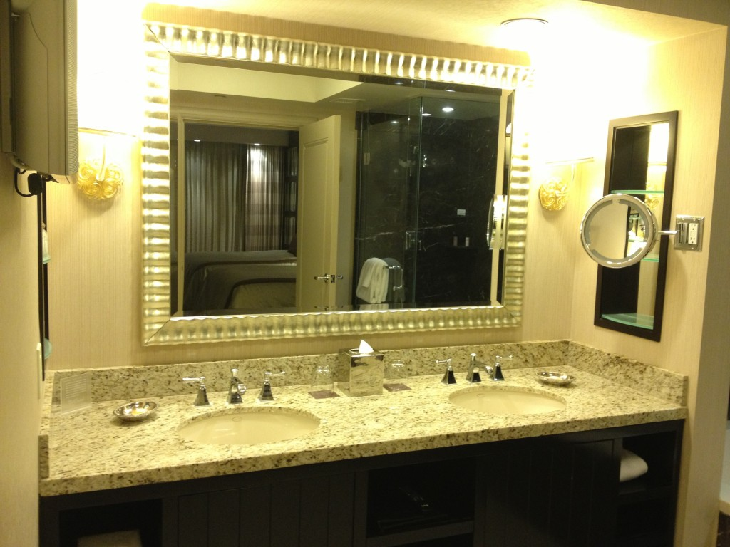 Dual sinks and a tv (the silver thing in the top left).