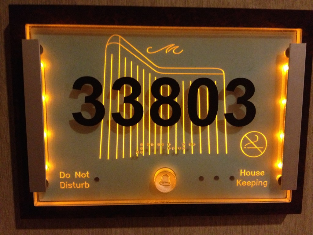 "Each room has controls for a ""Do Not Disturb"" and Housekeeping light."