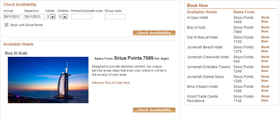 A one night stay would cost about 8K Sirius points.