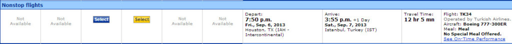 There was only one IAH-IST flight, so that's what I'll pick.
